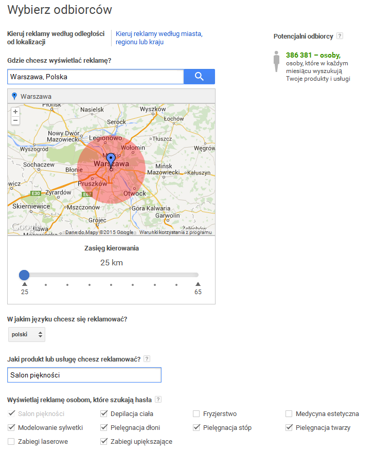 AdWords express - krok 2.1.