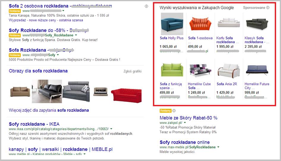 Wygląd okna kampanii produktowych w wyszukiwarce