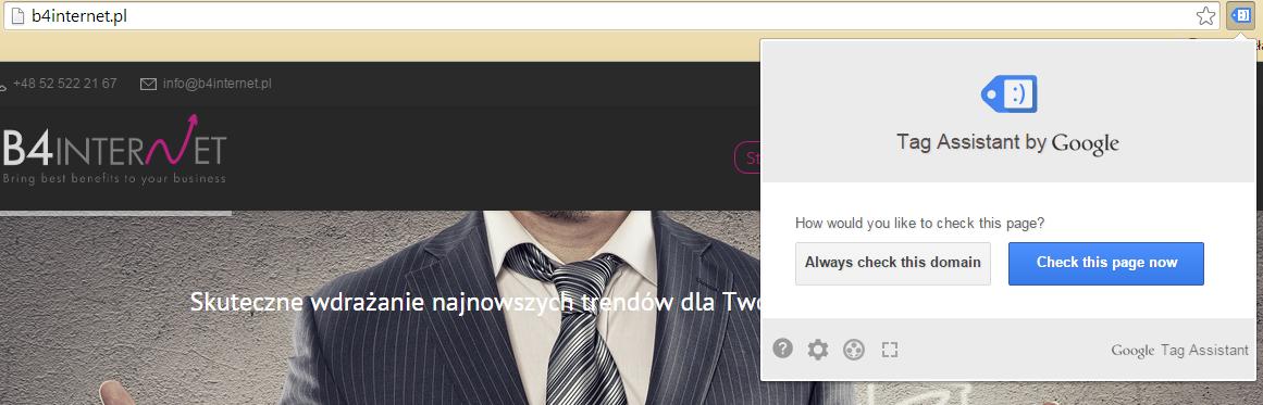 Szukanie kodu śledzenia za pomocą Tag Assistant