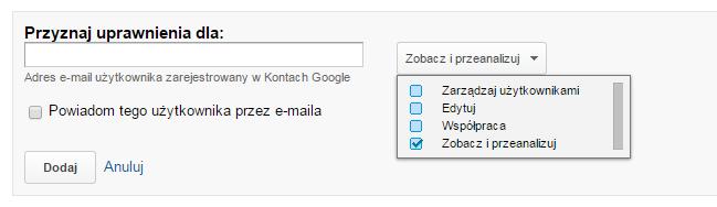 Cztery poziomu dostępu do Google Analytics