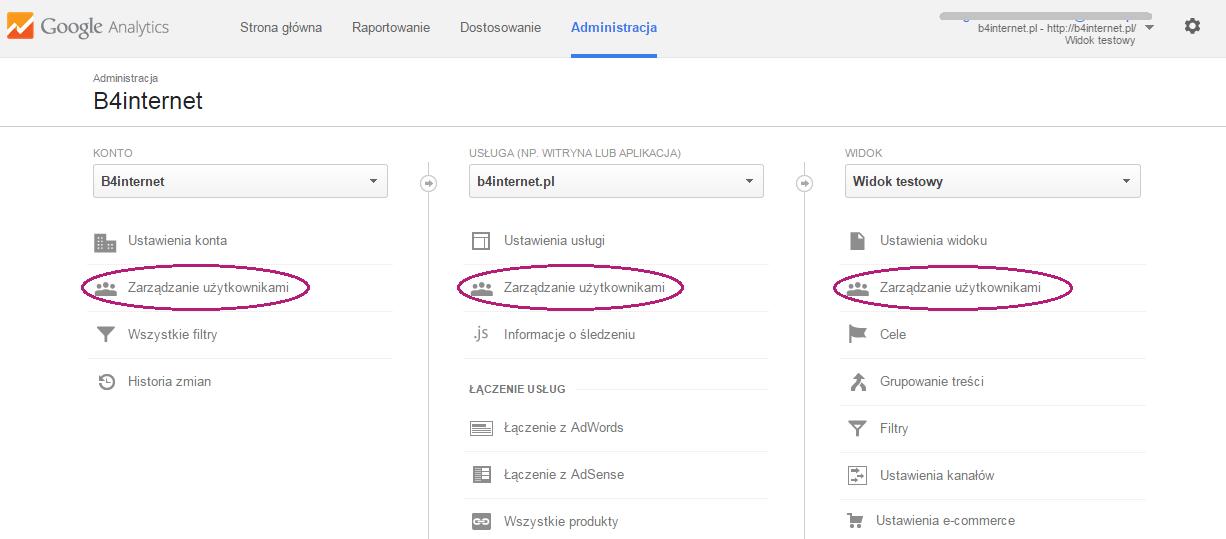 Zakładka Administracja na koncie Google Analytics