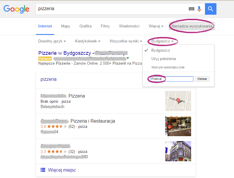 Lokalizacja w wyszukiwarce