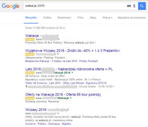 Wygląd wyników wyszukiwania z czterema reklamami na górze