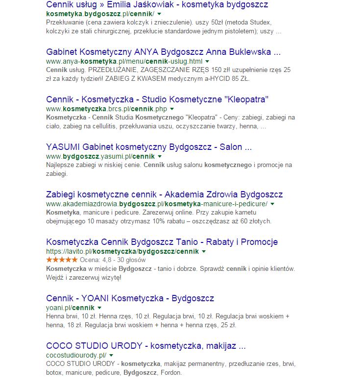 Dopasowane wyniki wyszukiwania - bezpieczne SEO