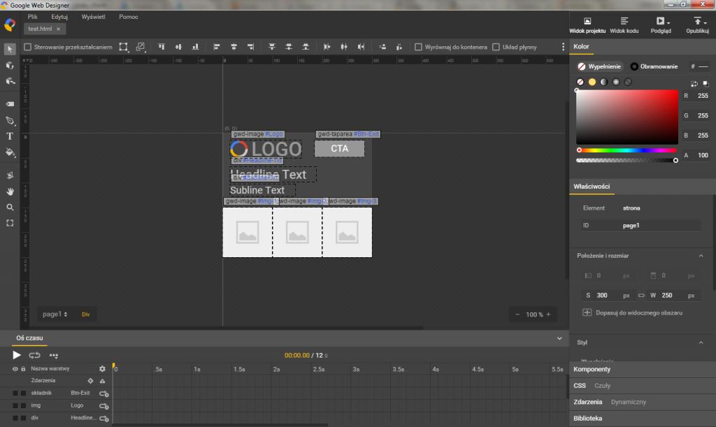 Widok projektu w Google Web Designer