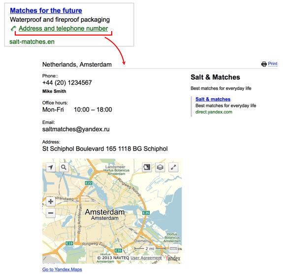 Wizytówka firmy w reklamie Yandex