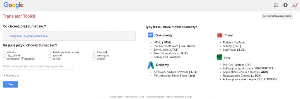 Narzędzia dla Tłumaczy Google
