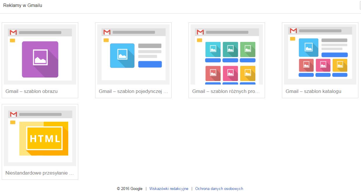 Rodzaje szablonów reklam w Gmailu