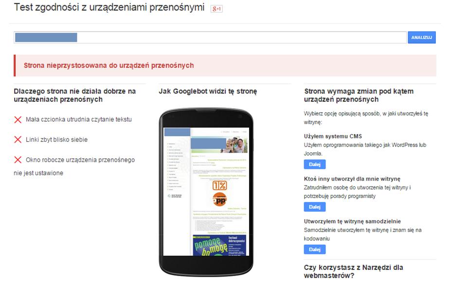Test zgodności z urządzeniami mobilnymi pokaże czy strona jest responsywna