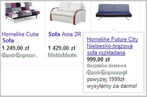 Wygląd rozwijanej reklamy produktowej w wyszukiwarce Google