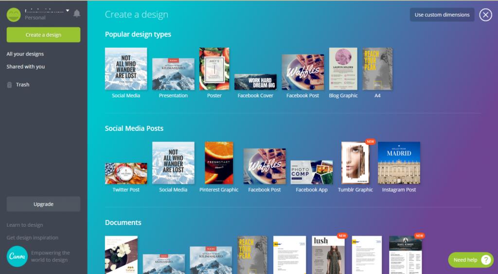 Rodzaje projektów graficznych w Canva