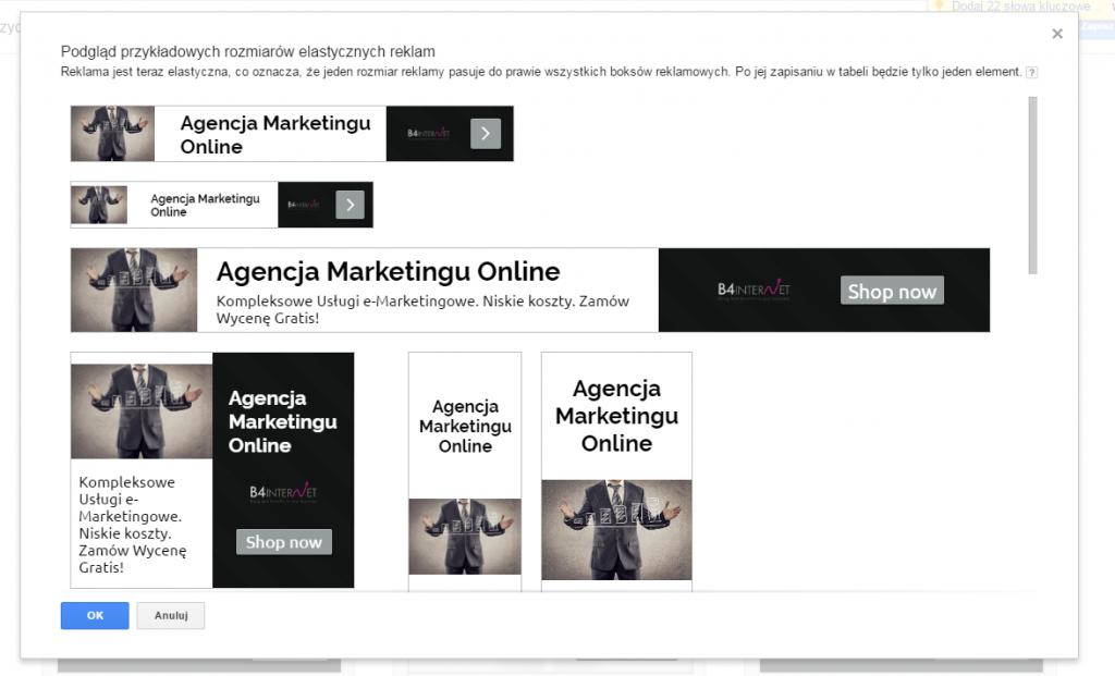 Podgląd formatów reklam w edytorze AdWords